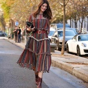 Zara | Pom Pom Striped Maxi Dress Blogger Fav